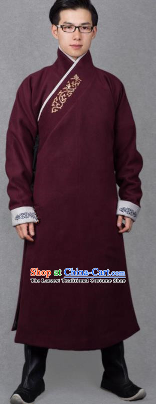 Chinese Ancient Imperial Guards Wine Red Robe Traditional Ming Dynasty Swordsman Costume for Men