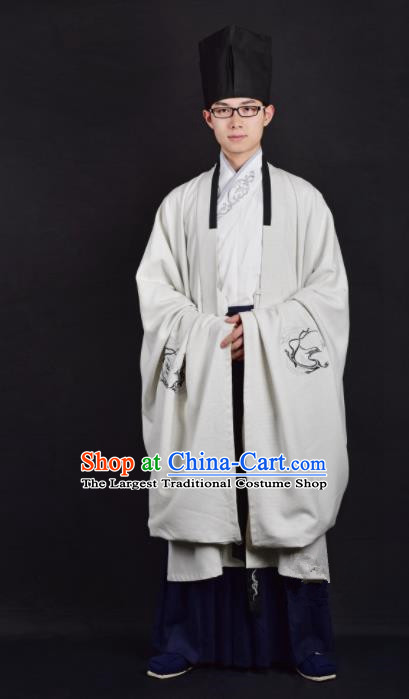 Chinese Ancient Taoist White Clothing Traditional Han Dynasty Minister Costume for Men