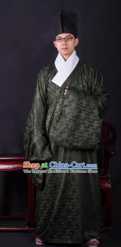 Chinese Ancient Taoist Atrovirens Clothing Traditional Ming Dynasty Minister Costume for Men