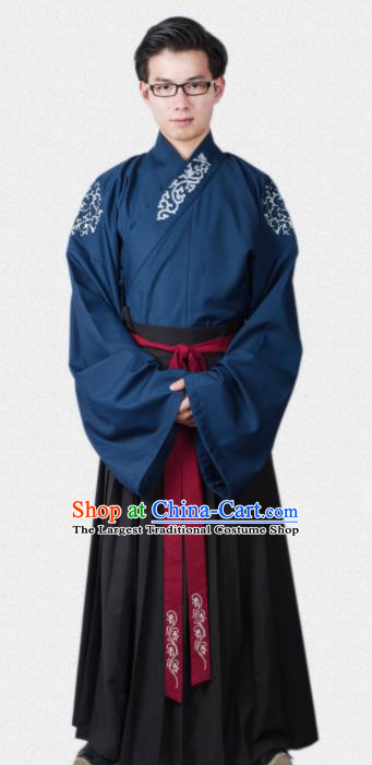 Chinese Ancient Traditional Ming Dynasty Scholar Blue Costumes Complete Set for Men
