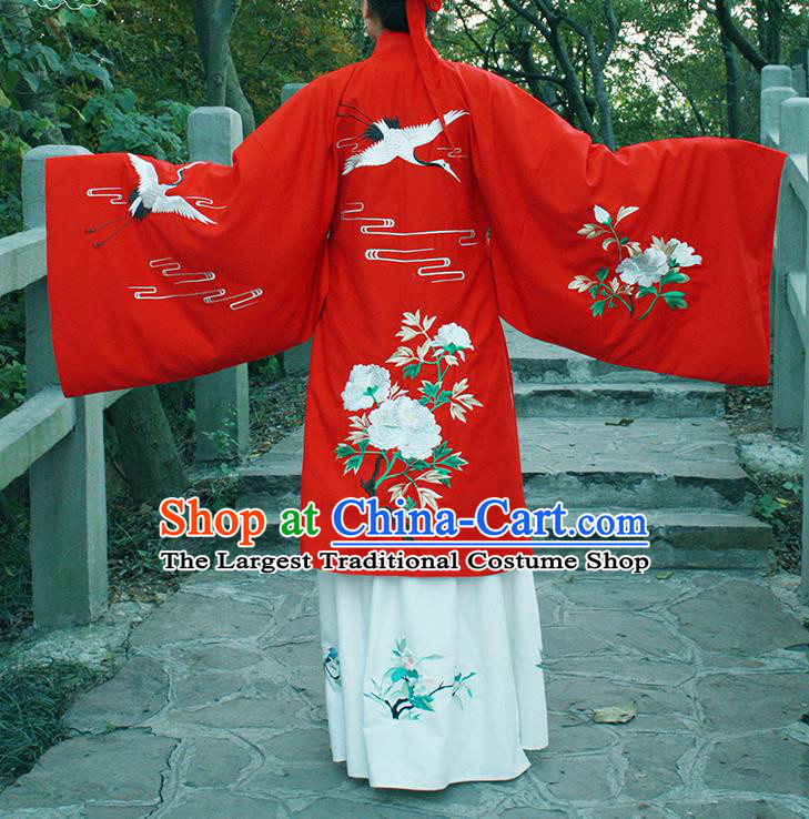 Chinese Ancient Red Cloak Hanfu Dress Ming Dynasty Princess Embroidered Costume for Rich Women