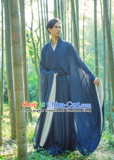 Chinese Ancient Traditional Jin Dynasty Scholar Swordsman Hermit Navy Costumes for Men