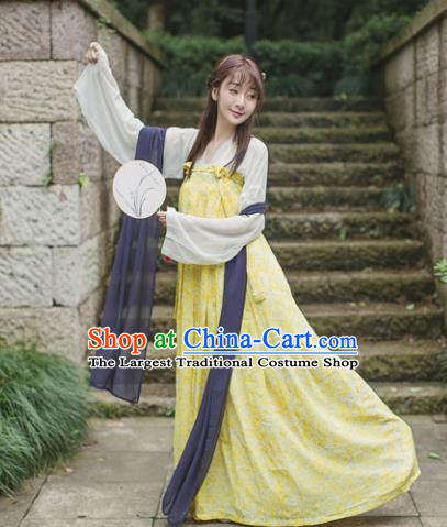 Traditional Chinese Tang Dynasty Maidenform Costume Ancient Princess Yellow Hanfu Dress for Women