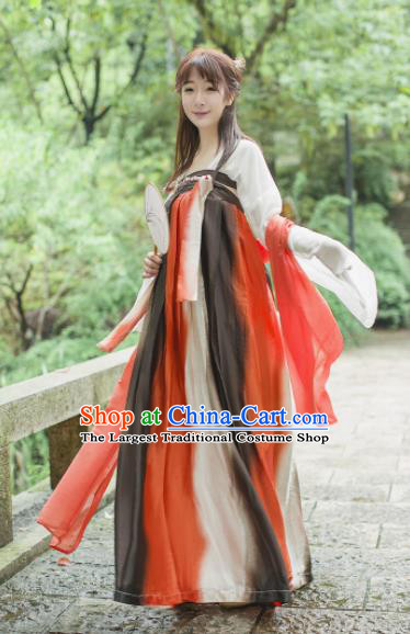 Traditional Chinese Tang Dynasty Maidenform Costume Ancient Princess Red Hanfu Dress for Women