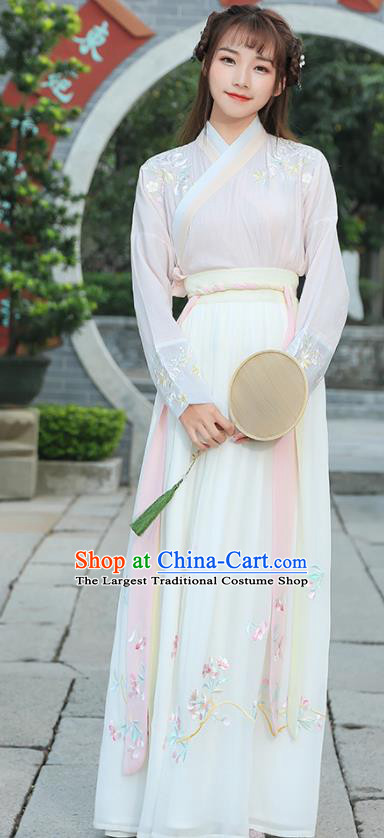 Chinese Ancient Hanfu Dress Ming Dynasty Young Lady Costume for Rich Women