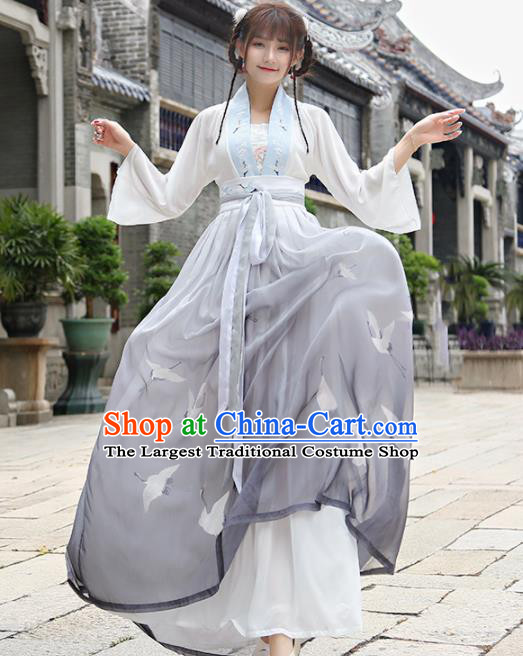 Chinese Traditional Tang Dynasty Nobility Lady Costume Ancient Embroidered Hanfu Dress for Rich Women