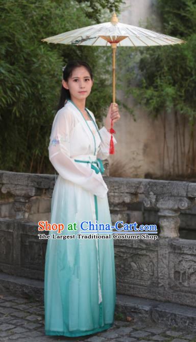 Traditional Chinese Ming Dynasty Nobility Lady Costume Ancient Embroidered Blue Hanfu Dress for Women