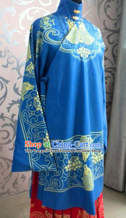 Traditional Chinese Ming Dynasty Costume Ancient Princess Embroidered Blue Robe for Women