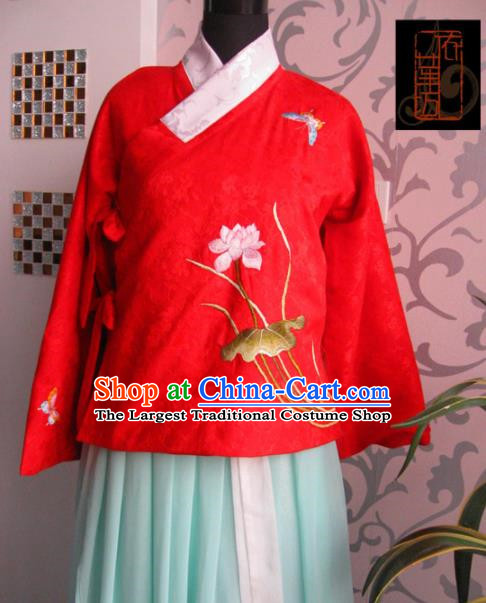 Traditional Chinese Ming Dynasty Costume Ancient Princess Embroidered Lotus Red Blouse for Women