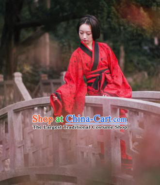 Traditional Chinese Han Dynasty Princess Costume Ancient Red Curving-Front Robe for Women