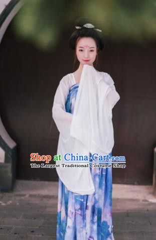 Traditional Chinese Tang Dynasty Imperial Consort Costume Ancient Maidenform Blue Hanfu Dress for Women