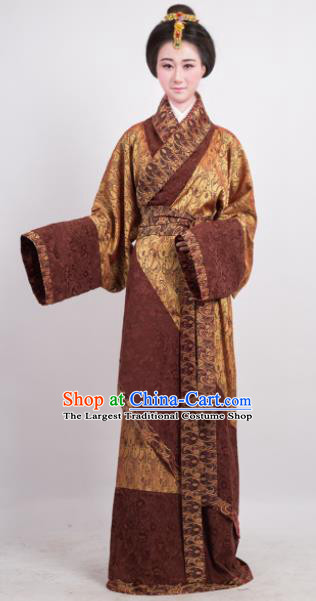 Traditional Chinese Han Dynasty Countess Golden Curving-Front Robe Ancient Palace Lady Costume for Women