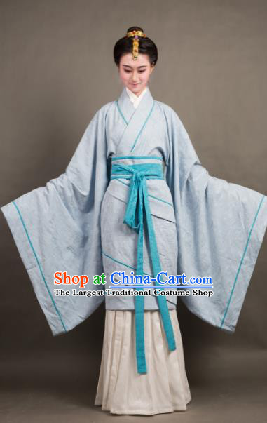 Traditional Chinese Han Dynasty Countess Blue Curving-Front Robe Ancient Palace Lady Costume for Women