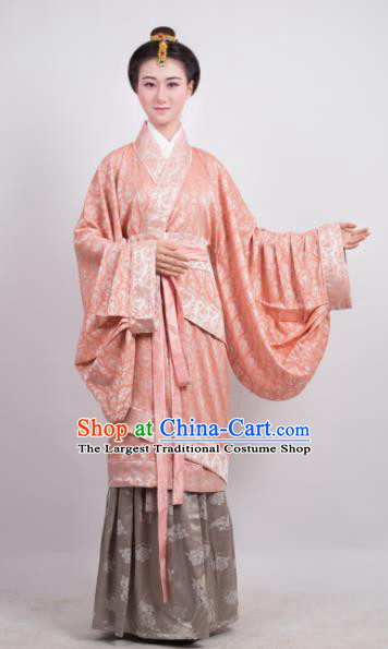 Traditional Chinese Han Dynasty Countess Pink Curving-Front Robe Ancient Palace Lady Costume for Women