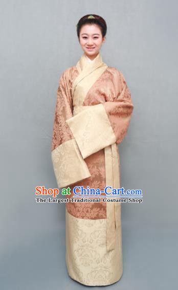 Traditional Chinese Han Dynasty Maidenform Pink Curving-Front Robe Ancient Marquise Costume for Women