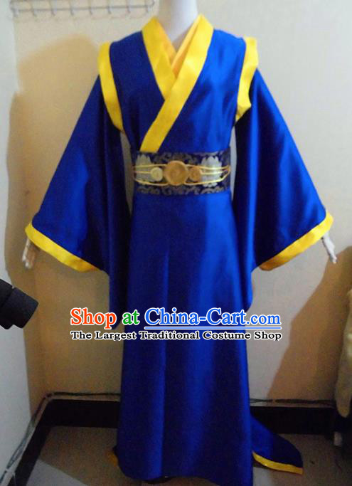 Asian Chinese Cosplay Royal Highness Customized Costume Ancient Swordsman Blue Robe for Men