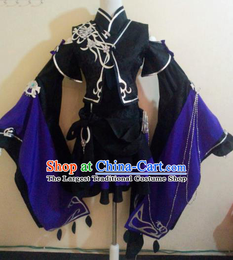 Asian Chinese Cosplay Female Knight Black Costume Ancient Swordsman Clothing for Women