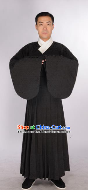 Chinese Traditional Ming Dynasty Scholar Costumes Ancient Minister Black Robe for Men