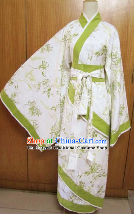 Traditional Chinese Han Dynasty Dance Curving-Front Robe Ancient Princess Costume for Women