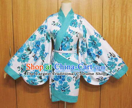 Traditional Chinese Han Dynasty Printing Curving-Front Robe Ancient Princess Costume for Women