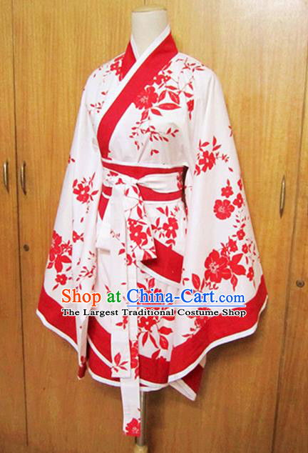 Traditional Chinese Han Dynasty Printing Red Curving-Front Robe Ancient Princess Costume for Women