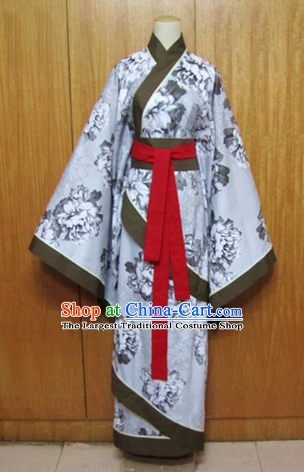 Traditional Chinese Han Dynasty Printing Grey Curving-Front Robe Ancient Princess Costume for Women