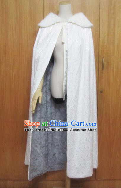 Traditional Chinese Ming Dynasty White Cloak Ancient Princess Costume for Women