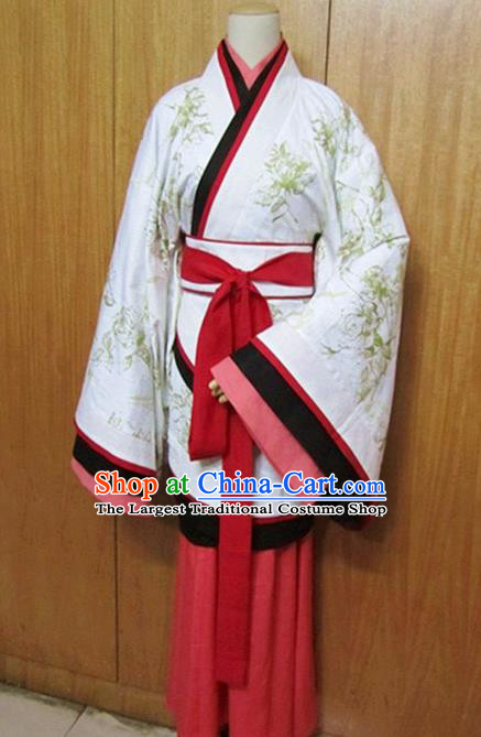 Traditional Chinese Han Dynasty White Curving-Front Robe Ancient Princess Costume for Women