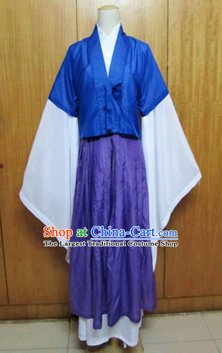 Traditional Chinese Jin Dynasty Young Lady Hanfu Dress Ancient Swordsman Costume for Women