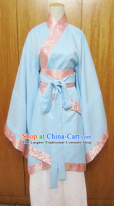 Traditional Chinese Han Dynasty Young Lady Blue Hanfu Dress Ancient Princess Costume for Women