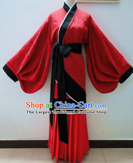 Traditional Chinese Han Dynasty Palace Lady Red Hanfu Dress Ancient Princess Fairy Costume for Women