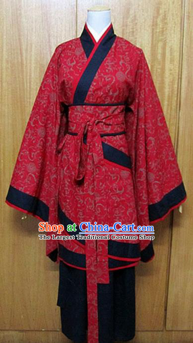 Traditional Chinese Han Dynasty Maidenform Red Curving-Front Robe Ancient Princess Fairy Costume for Women