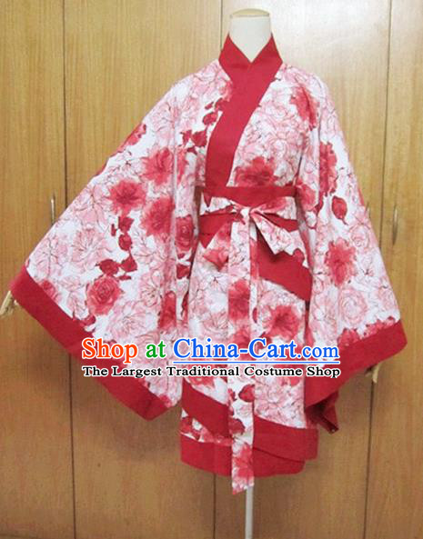 Traditional Chinese Han Dynasty Maidenform Red Curving-Front Robe Ancient Princess Costume for Women
