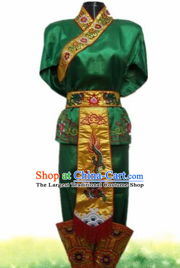 Traditional Chinese Beijing Opera Warrior Costume Takefu Embroidered Green Clothing for Adults