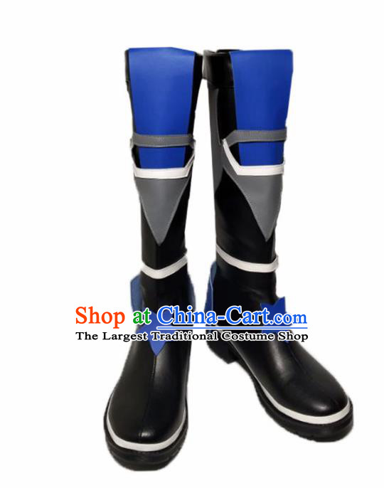 Asian Chinese Cosplay Cartoon Shoes Ancient Swordsman Black Boots for Men