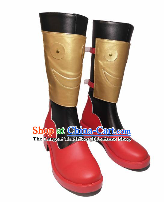 Asian Chinese Cosplay Cartoon General Shoes Ancient Swordsman Red Boots for Men