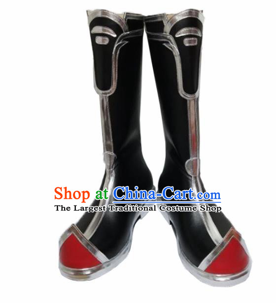 Asian Chinese Cosplay Shoes Cartoon Swordsman Black Boots for Men