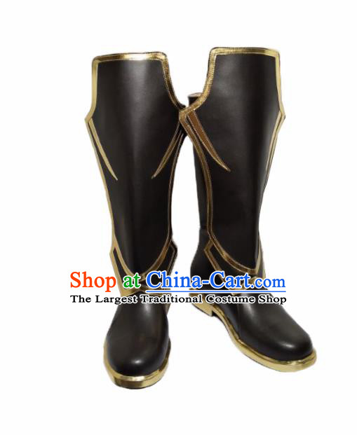 Asian Chinese Cosplay Shoes Cartoon Ancient Swordsman Black Boots for Men
