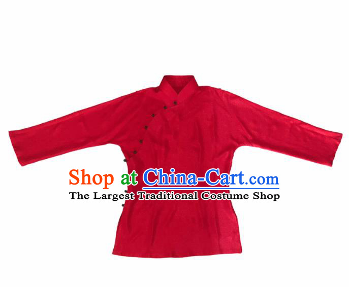 Traditional Chinese Handmade Embroidered Red Silk Costume Tang Suit Blouse for Women