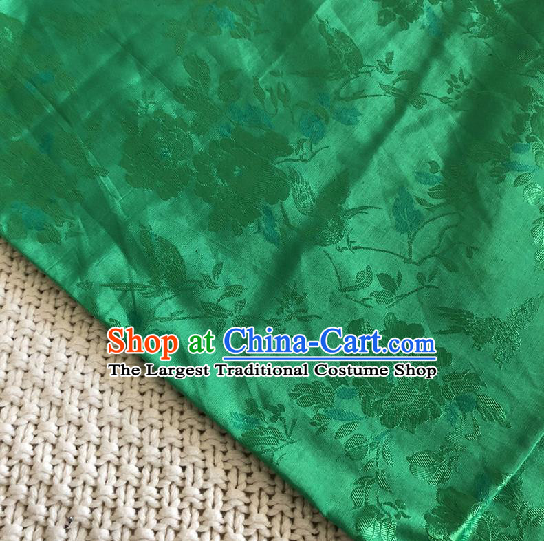 Asian Chinese Traditional Fabric Peony Flowers Pattern Green Brocade Cloth Silk Fabric