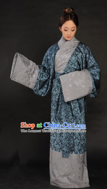 Asian Chinese Traditional Han Dynasty Imperial Consort Curving-Front Robe Ancient Royal Countess Costumes for Women