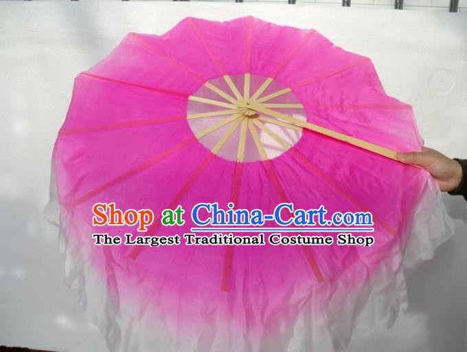 Traditional Chinese Crafts Circular Folding Fan China Folk Dance Fans Rosy Silk Fans