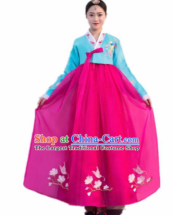 Top Grade Korean Traditional Costumes Asian Korean Hanbok Bride Blue Blouse and Rosy Skirt for Women