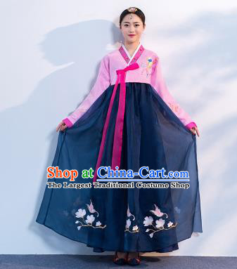 Top Grade Korean Traditional Costumes Asian Korean Hanbok Bride Pink Blouse and Navy Skirt for Women