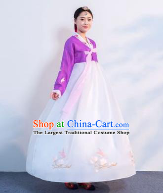 Top Grade Korean Traditional Costumes Asian Korean Hanbok Bride Purple Blouse and White Skirt for Women