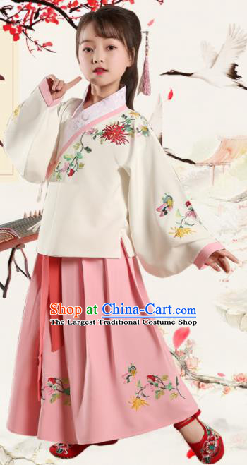 Chinese Ming Dynasty Princess Costume Ancient Young Lady Hanfu Clothing for Kids