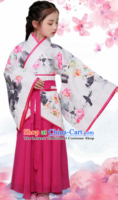 Chinese Han Dynasty Princess Costume Ancient Young Lady Printing Lotus Hanfu Clothing for Kids