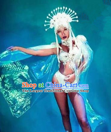 Professional Stage Performance Costume Halloween Cosplay Mermaid White Clothing and Headwear for Women
