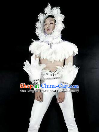 Professional Stage Performance Costume Halloween Cosplay Clown White Feather Clothing and Headwear for Men
