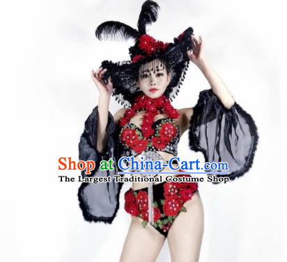 Professional Stage Performance Halloween Costume Brazilian Carnival Swimwear and Headwear for Women